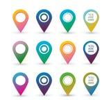 与圈子的五颜六色的地图标志与空白和文本签字 库存图片