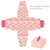 与圈子的桃红色箱子模板 免版税图库摄影