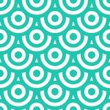 与圈子蓝绿色和白色的无缝的样式 库存图片