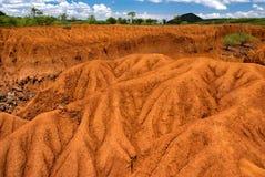 与土壤侵蚀,肯尼亚的风景 库存图片