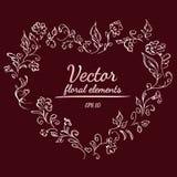 与土气红色、褐色、巧克力和淡粉红的颜色的玫瑰或牡丹花花圈和分支 花卉框架设计 库存例证