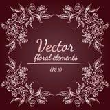 与土气红色、褐色、巧克力和淡粉红的颜色的玫瑰或牡丹花花圈和分支 花卉框架设计 皇族释放例证