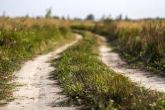 与土路的农村风景场面在绿草之间调遣 图库摄影