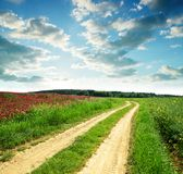 与土路的春天农村风景 库存照片