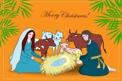 与圣徒家庭和动物的诞生场面 皇族释放例证