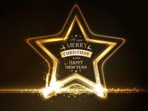 与圣诞快乐印刷术的金黄发光的星框架 库存图片