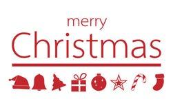 与圣诞快乐文本,传染媒介illustr的红色圣诞节装饰品 库存照片