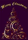 与圣诞快乐文本,传染媒介的装饰圣诞树贺卡 库存图片