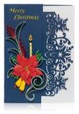 与圣诞快乐问候和poins的手工制造圣诞卡 免版税库存图片