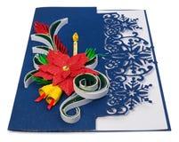 与圣诞快乐问候和poins的手工制造圣诞卡 库存图片