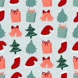 与圣诞树、礼物和圣诞老人帽子的无缝的样式 皇族释放例证