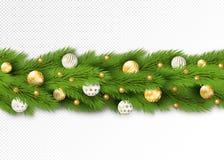 与圣诞树分支的无缝的边界、雪和假日装饰whute和金黄球和小珠 向量 图库摄影