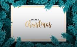 与圣诞树分支的背景 免版税库存照片