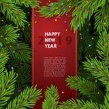 与圣诞树分支的背景 免版税图库摄影