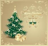 与圣诞树和礼品的明信片 免版税库存图片