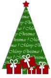 与圣诞树和礼品的欢乐卡片设计 免版税库存图片