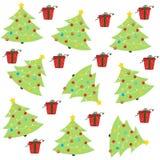 与圣诞树和装饰品的圣诞节无缝的样式 库存图片