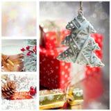 与圣诞树和装饰的拼贴画 免版税库存照片