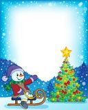 与圣诞树和雪人4的框架 免版税库存图片