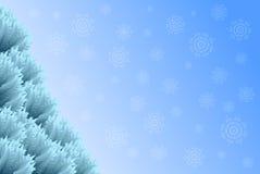 与圣诞树和雪花的圣诞节背景 向量例证