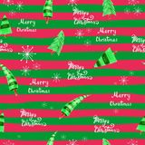 与圣诞树和雪花的无缝的圣诞节背景 字法圣诞快乐 免版税库存照片