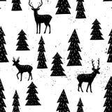 与圣诞树和鹿的无缝的手拉的样式 免版税库存照片