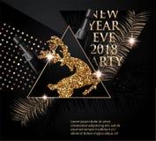 与圣诞树早午餐、鹿、瓶香槟和三角的美丽的新年党横幅 库存照片