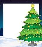 与圣诞树的一块空的圣诞节模板 免版税库存图片