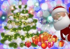 与圣诞树的假日卡片,圣诞老人项目与题字'新年快乐的'新年 库存图片