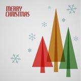 与圣诞树的减速火箭的圣诞卡 免版税库存照片