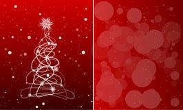 与圣诞树的卡片在与雪花的红色背景 Vec 免版税库存照片