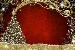 与圣诞树的圣诞卡 免版税库存照片