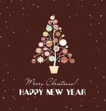 与圣诞树的圣诞快乐卡片 免版税库存图片