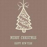 与圣诞树的圣诞快乐和新年快乐背景 图库摄影
