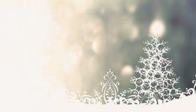 与圣诞树的圣诞节灰色背景 免版税库存图片