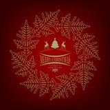 与圣诞树的圣诞节红色设计和鹿和雪花 库存图片