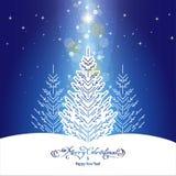 与圣诞树的圣诞节背景 向量例证