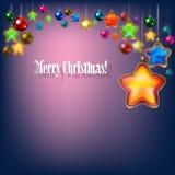 与圣诞树的抽象蓝色庆祝问候 免版税库存照片