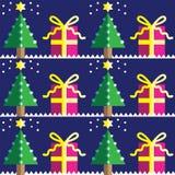 与圣诞树的无缝的样式,与浅兰和d星在两片树荫下在与雪元素的深蓝背景 图库摄影