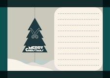 与圣诞树的明信片 免版税库存图片