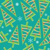 与圣诞树的样式和玩具和雪花 库存例证