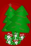 与圣诞树的欢乐卡片设计 免版税图库摄影