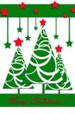 与圣诞树的欢乐卡片设计 免版税库存照片