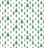 与圣诞树的水彩无缝的样式 免版税库存照片