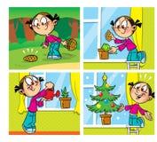 与圣诞树的漫画 免版税库存照片