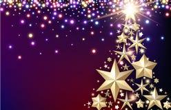 与圣诞树的紫色背景 库存例证