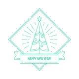 与圣诞树的线性徽章 免版税库存图片