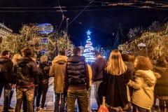 与圣诞树的结构体正方形 库存图片