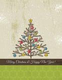 与圣诞树的背景,向量 免版税库存图片