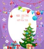 与圣诞树的节假日看板卡 库存例证